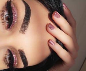 eyebrows, eyeshadow, and glitter eyes image