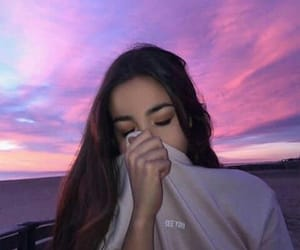 colorful sky, girl, and photo image
