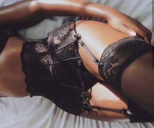 black, elegance, and lingerie image