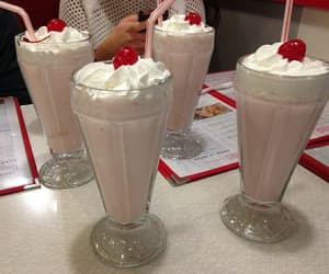 cherry, milkshake, and pink image