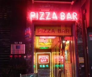 bar, neon, and pizza image