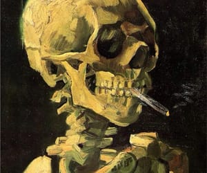art, skull, and van gogh image