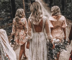 bridal gown, bride, and bridesmaids image
