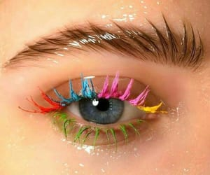 makeup, eye, and rainbow image