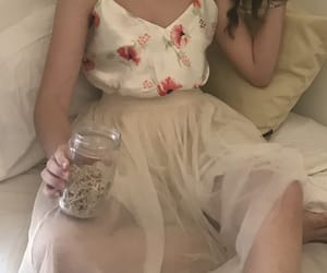 beige, skirt, and white image