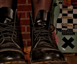 black, martens, and checked image