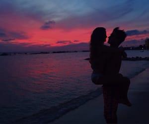 couple, sunset, and paradise image
