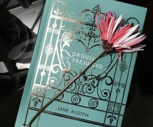 books, jane austen, and flowers image