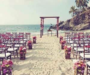 beach, marriage, and wedding image