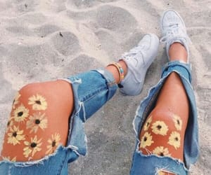 beach, flowers, and shoes image