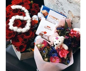 chocolate, flowers, and couple image