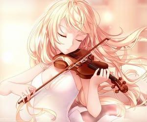 anime girl, blonde hair, and shigatsu wa kimi no uso image