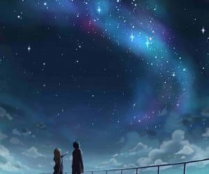anime girl, couple, and night image