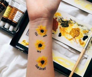 art, yellow, and flowers image