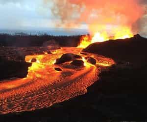 eruption, hawaii, and volcano image