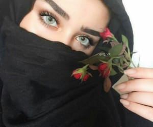 beauty, eyes, and hijab image