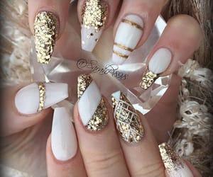 nails, girl, and gold image