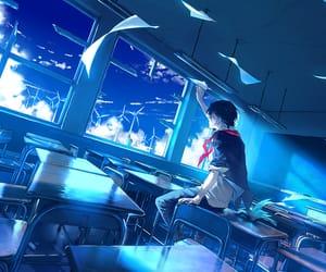 anime, wind, and blue sky image
