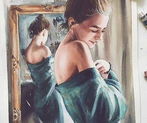 girl, mirror, and art image