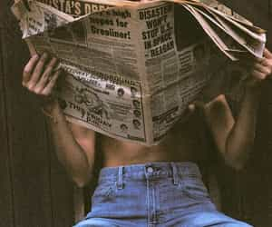 girl, newspaper, and photography image
