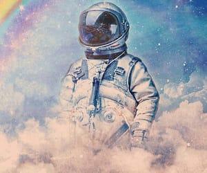 art, astronaut, and rainbow image