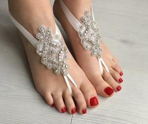 barefoot, anklet, and destination wedding image