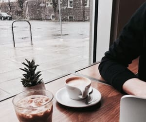 coffee, rain, and aesthetic image