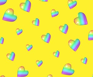 amarillo, arcoiris, and corazones image