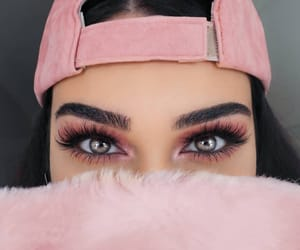 eyebrows, pink, and eyes image