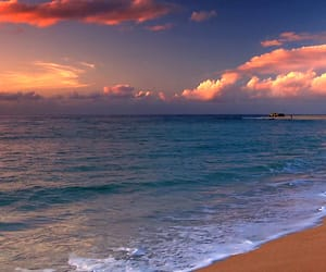 beaches, sundown, and sunset image