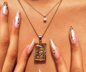 nails, necklace, and gold image