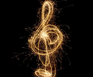 music, gold, and light image