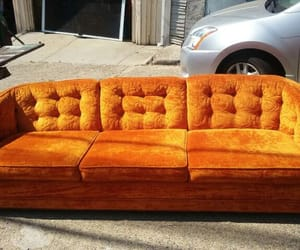 70s and orange couch velvet image