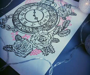 clock, drawing, and rose image