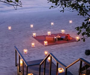beach, candles, and gif image