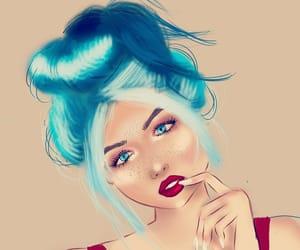 art, drawing, and blue hair image