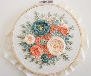 colour, embroidery, and flower image