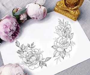 flowers, illustration, and ink image