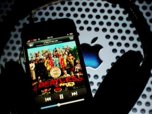 beatles, ipod, and ipod iphone apple beatles music album headphones w image