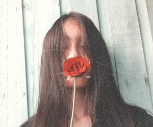 aesthetic, closed eyes, and rose image