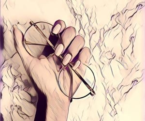 glasses, hand, and fine lines image