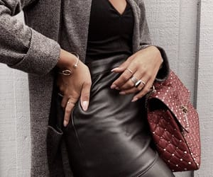 chic, fashion, and leather skirt image