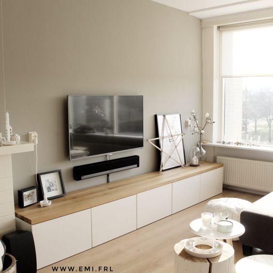 Basic Tv Meubel.Mijn Tv Meubel Ikea Besta Hack Met Eikenhouten Plank Emi Frl