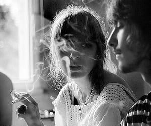 smoke, girl, and black and white image