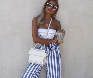 fashion style, outfit inspo, and striped pants image