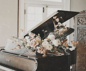flowers, piano, and aesthetic image