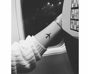 b&w, fly, and plane image