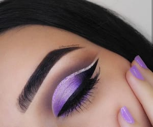 eyebrows, purple, and eyes image