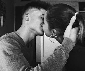 black and white, kiss, and cute image