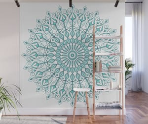 aqua, mandala, and wall image